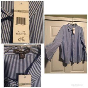 Blue and white pinstripe cotton dress shirt new